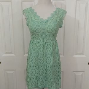 Anthro Mint Green Floral Lace Dress Size M
